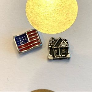 Origami Owl USA flag and house charms